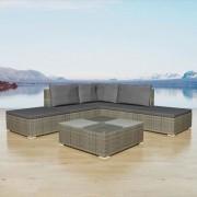 Set mobilier de grădină 15 piese, poliratan, gri
