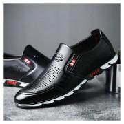 Zapatos De Ecocuero De Ocio De Asakuchi Hueco Para Hombre - Negro
