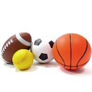 Ampersand Shops Action Sport Kids 4 Pack Bal Set (Soccer, Tennis, Basketball & Football)