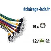 Lot de 10 LEDS blanches câblées 12v DC ref ld-17