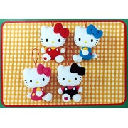 Sanrio Hello Kitty Ribbon Heart Plush Hanging Dolls - Assorted Colors 4pc Set