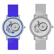 Octus Peacock Blue And White Colour Round Dial Analog Watches Combo For Girls And Womens