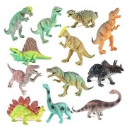 "Educational Dinosaurs 12 pack by Boley - kids 7"" tall realistic toy dinosaur figures perfect for cool kids and toddler education! (T-rex, triceratops, velociraptor, and more)"