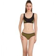 Fashion Comfortz Green Cotton Lycra Plain One Piece