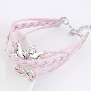 BAGISIMO Růžový náramek s holubicemi