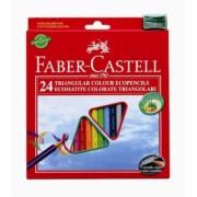 Creioane Colorate Triunghiulare 24 culori + Ascutitoare Eco Faber-Castell