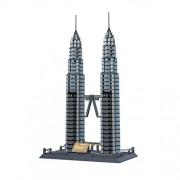 Wange Building Blocks for Kids Features The Petronas Towers of Kuala Pumpur Set by Wange Multi-Colored