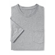 ランズエンド LANDS' END メンズ・スーパーT/スリムフィット/ポケット付き/半袖/Tシャツ(グレーヘザー)