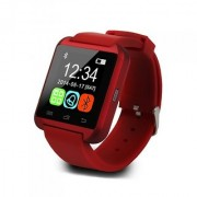 Bluetooth Smartwatch Red with apps (facebook whatsapp twitter etc.) compatible with Intex Aqua Xtreme by Creative