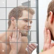 15cm Rectangular Home Decor Mirror Tiles Pegatinas de pared - Plata (16PCS)