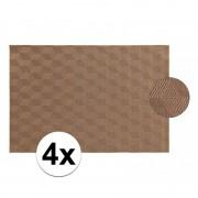 Geen 4x Afneembare placemat licht bruin 45 x 30 cm