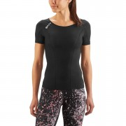 Skins DNAmic Women's Short Sleeve Top -Black/Black - L - Black/Black