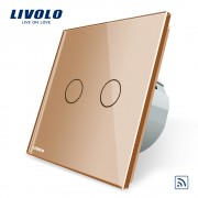Intrerupator dublu wireless cu touch Livolo din sticla, auriu