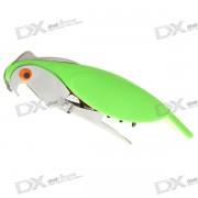 forma de pajaro plegable botella de acero inoxidable / abrelatas de vino con cuchillo de corte serrado (verde claro)