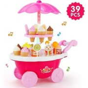 39 Pcs Sweet Cart Play Set for Ice Cream lollipops with Lights and Music Small Sweet Shop(COLORS May Vary)