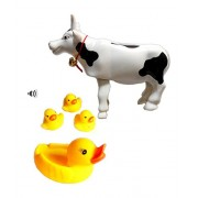Squeeze Duck Bath sound Toy with wind up cow