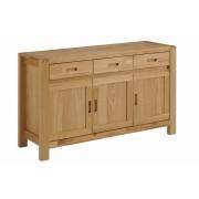 Bufet 3 usi ETHAN in stil Clasic,din Panou lemn masiv imbinat si PAL furniruit,culoare Natur-stejar