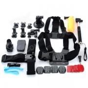 Correa para pecho + Soporte + Casco Cinturon Set de accesorios para GoPro - Negro