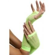 1980'S Long Neon Green Fishnet Gloves