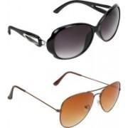 Zyaden Oval, Aviator Sunglasses(Black, Brown)