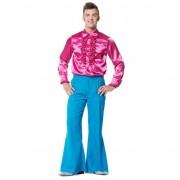 Merkloos Verkleedkleding blauwe lange broek wijd voor heren