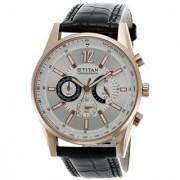 Titan 9322WL01 Black Leather Analog Watch