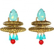 Envy Jewellery Gold Plated Antique gold natural beads Dangle Earring