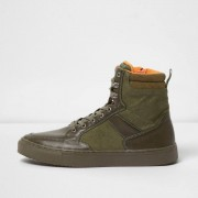 River Island Mens Green high top lace-up trainers