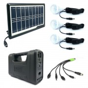 Kit Solar MRG AKL-8017A, Negru, 3 becuri, Panou solar