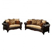 Furniture of America Kamil Classic 2-Piece Sofa Set with Accent Pillows and Wood