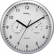 Ceas de perete analogic cu termo/higrometru Techno Line WT 650, argintiu-alb
