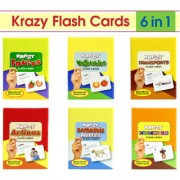 Combo Set of 6 Krazy Flash Cards (Domestic Animals+Transports+Vegetables+Fruits+ Numbers+Actions)