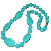 HAL Silicone Baby Teething Necklace for Mom Round and Flat Chewable Teether Toy for Baby-Turquoise