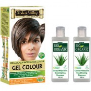 Natural Hair Colour Gel Medium Brown 4.00 And Colour Protective Shampoo Set Of 3