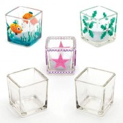 Baker Ross Glass Candle Holders - Box of 6 square glass tealight holders to decorate with glass paints or pens. Suitable for votive candles & tealights. Size 5cm