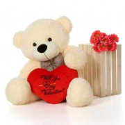 4 Feet Peach Big Bow Teddy Bear holding Will You Be My Valentine heart
