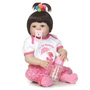 NPK 23inch Soft Cloth Body Silicone Reborn Lifelike Baby Doll Girl Bebe Alive Christmas Gift