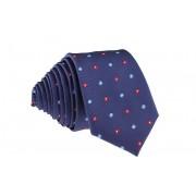 Pánská tmavě modrá slim kravata s kytičkami - 6 cm