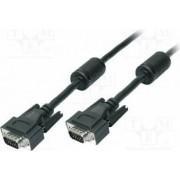 Cablu video LogiLink VGA tata-tata cu 2x filtru ferita 5m Negru