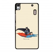 Y&M Lenovo A7000 Cell Phone Case Batman And Super Man Pattern Cover (Multicolor)