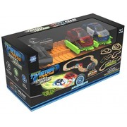 Mindscope Twister Tracks Trax 360 Loop 15 (Feet) Of Neon Glow In The Dark Track With Two Light Up (Pulse Led) Vehicles City Vehicle Series