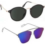 Tazzx Cat-eye, Butterfly Sunglasses(Black, Blue)