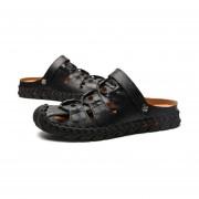 La moda de verano zapatos planos antideslizantes Sandalia Hombre Slip-on Zapatillas casual Negro