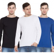 Cliths Pack of 3 Full Sleeves Tshirts for Men Cotton Round Neck Tshirts (Black White Royal Blue)