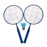 Set Badminton, 1 x fluturas, 46 cm, maner anti-aluncare, Albastru