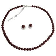 Compliment Wedding Jewelry Set In Bordeaux Wine Pearl Stud Earrings