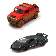 Playking Kinsmart Combo of 2005 Hummer H2 Sut 1:40 (Muddy) and Lamborghini Veneno Scale Model 5'' Die Cast Metal, Doors Openable and Pull Back Action Car (Color May Vary)