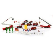 Fire Engine Deluxe Rescue 40 Piece Toy Vehicle Play Set, Comes With Variety Of Toy Vehicles And Accessories