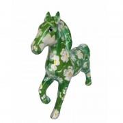 Pomme Pidou Spaarpot paard 21 cm groen bloemen