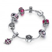 European Style 925 Silver Bracelet With Flower Heart Charm Murano Bead - Purple - 16cm